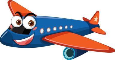 flygplan med ansiktsuttryck seriefigur på vit bakgrund