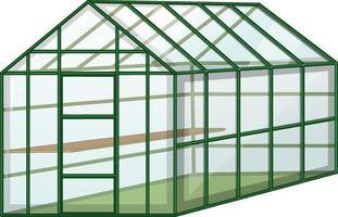 leeres Gewächshaus mit Glaswand auf weißem Hintergrund vektor