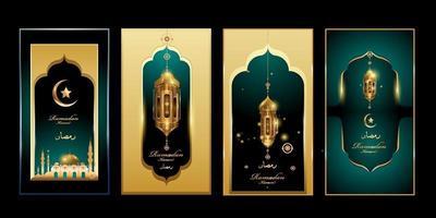 Ramadan Kareem in grüner und goldener Farbe mit Laternen- und Moscheenillustration für Banner, Gruß und soziale Medien vektor