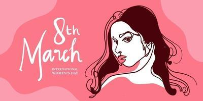 abstrakte Gesichtsillustration des internationalen Frauentags für Banner, Plakat und soziale Medien vektor