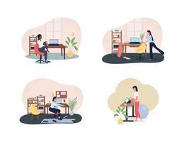Arbeitsplatz Fitnessstudio 2d Vektor Web-Banner, Poster-Set