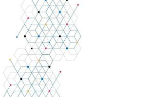 abstrakter geometrischer Kastenmusterpunktlinienverbindungshintergrund. moderne Technologie mit quadratischem Netz. geometrisch auf weißem Hintergrund mit Linien. Würfelzelle. Vektorillustration