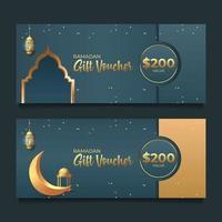 Ramadan Geschenkgutschein mit goldenem Stil vektor