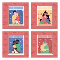 lycklig familj i hemmafönster platt färg vektor illustration set