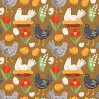 fjäderfä gårdsmönster med höna, kyckling, ägg, bo och blommor. sömlösa mönster, konsistens, bakgrund. förpackningsdesign. vektor
