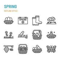 Frühlingssaison in Umrissikone und Symbolsatz vektor