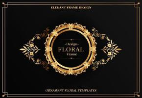 eleganter goldener runder Rahmen mit Blumenverzierung vektor