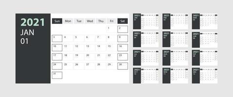 kalender 2021 vecka start söndag företagsdesign planerare mall med grönt och grått tema vektor