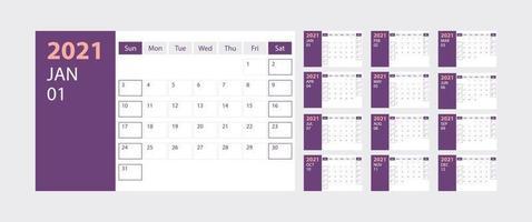 kalender 2021 vecka start söndag företagsdesign planerare mall med lila tema vektor