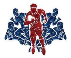 grupp rugbyspelare designad med grungeborste vektor