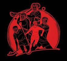 Gruppe von schleudernden Sportspielern Action-Posen vektor