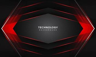3D-Überlappungsebeneneffekt mit Lichtdekoration der roten Farbe. Design-Vorlage für moderne Technologie. vektor