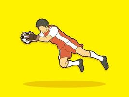 fotboll man spelare målvakt handling vektor