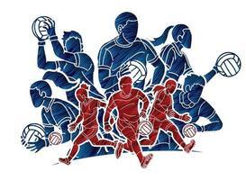 grupp gäliska fotbollsmän och kvinnliga spelare vektor