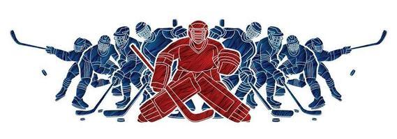 Gruppe von Eishockeyspielern vektor