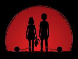 Stoppen Sie Kindesmissbrauch, Jungen und Mädchen mit Kette vektor