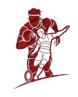 Rugbyspieler laufen und treten Action-Posen vektor