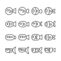 Fischikone. Umriss- und dünne Linienikonen auf lokalisiertem weißem Hintergrund. Tier- und Meeresthema. vektor