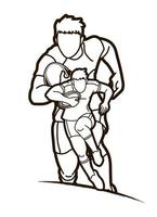 Rugby männliche Spieler skizzieren vektor