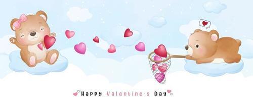 niedlicher Gekritzelbär für Valentinstag Sammlung vektor