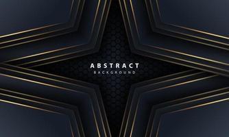 abstrakte goldene Linie Pfeil auf Schwarz mit Hexagon Mesh Design moderne Luxus futuristische Technologie Hintergrund Vektor-Illustration. vektor