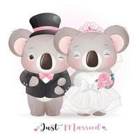 söt doodle koala björn med bröllopskläder för alla hjärtans dag vektor