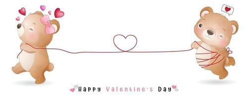 söt doodle björn för alla hjärtans dag samling vektor