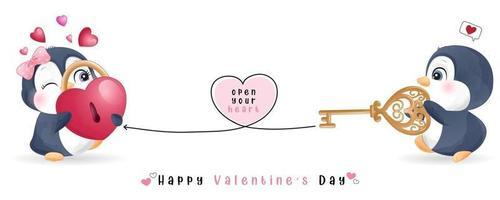 söt doodle pingvin för alla hjärtans dag samling vektor