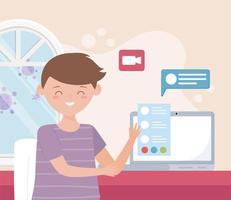 online-möte koncept med ung man på den bärbara datorn