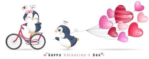 niedlicher Gekritzelpinguin für Valentinstagssammlung vektor