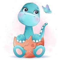 niedlicher kleiner Dinosaurier mit Aquarellillustration