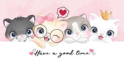 söta små kattungar med akvarelleffektillustration vektor