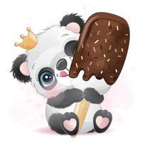 niedlicher kleiner Panda mit Aquarellillustration vektor