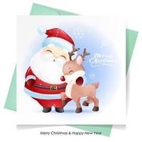 söt klotter jultomten och rådjur till jul med akvarellillustration vektor
