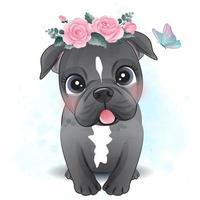 niedlicher kleiner Pitbull mit Blumenillustration vektor