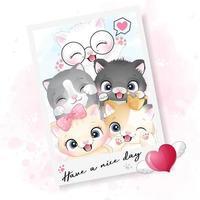 söt liten kattfoto med akvarellillustration