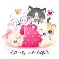 söt liten kattunge med akvarellillustration