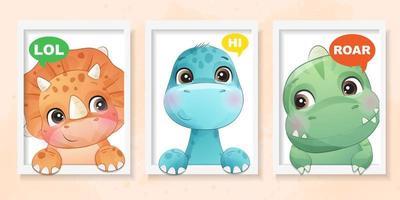 niedlicher kleiner Dinosaurier mit Aquarelleffektillustration