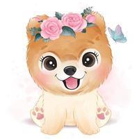 söt liten hund med blommig illustration vektor