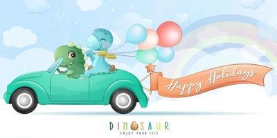 niedlicher Dinosaurier, der ein Auto mit Aquarellillustration fährt