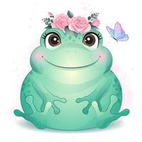 niedlicher kleiner Frosch mit Aquarellillustration vektor