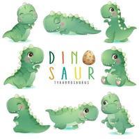 niedlicher kleiner Dinosaurier wirft mit Aquarellillustration auf