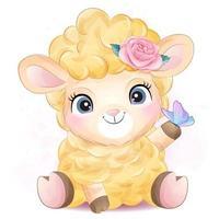 niedliches kleines Schaf mit Aquarellillustration vektor