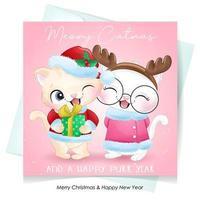 söt doodle kitty för juldagen med akvarell illustration vektor