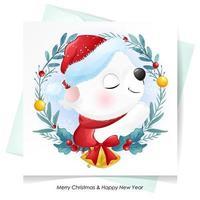 söt klotterbjörn till jul med akvarellillustration vektor