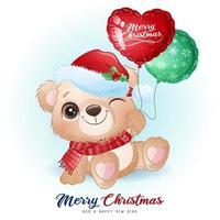 söt klotterbjörn för juldagen med akvarellillustration vektor