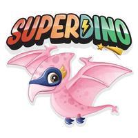 söt super dinosaurie med akvarell illustration vektor