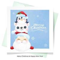 söt klotter jultomten och vänner till jul med akvarellillustration vektor