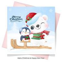 söt doodle isbjörn och pingvin till juldagen med akvarellillustration vektor