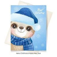 söt doodle sloth för jul med akvarell illustration vektor